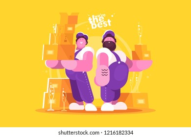 Couple loaders movers team with cardboard boxes. Two men in uniform. Moving and delivery company concept. Flat. Vector illustration.