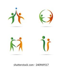 Couple logo vector design isolated on white background.