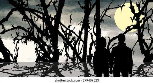 Couple looking in dark forest. Full moon in dark sky.