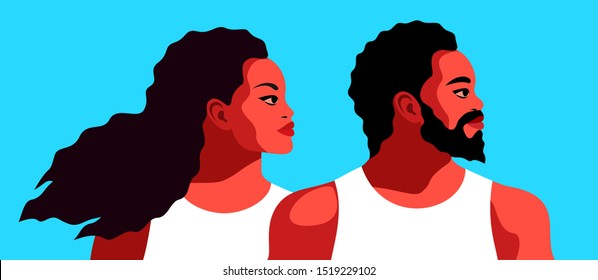 Couple in love, african americans. Bearded man and woman with long curly hair, wearing sleeveless shirts. Abstract man and female portraits, side view. Vector illustration