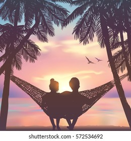 Couple in love at the beach on hammock. Inspiration for wedding, date, romantic travel cards. Family