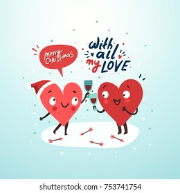 Couple in love celebrating Christmas. Two happy hearts in love drinking red wine. Romantic love story