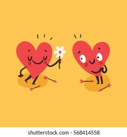 Couple in love concept. Cute hearts characters. Man giving flowers to woman. First love date. Vector card for wedding or Valentine's day.