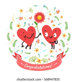 "Couple in love concept. Cute hearts characters. Man giving flowers to woman and ribbon with ""Congratulations"" text.. First love date. Vector card for wedding or Valentine's day."