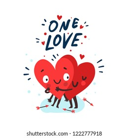 "Couple in love concept, two cute hearts hugging. Hand Drawn Lettering ""One Love"". Valentine's Day Vector Card"