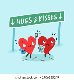 "Couple in love concept. Two happy hearts traveling together with map. Road sign ""Hugs and Kisses"". Happy Valentine's day Card"