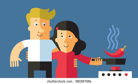 Couple in love cooking a dinner together. Flat vector illustration.