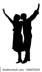 Couple in love dancing vector silhouette isolated on white background. Closeness in public. Kiss the girl, kissing and tenderness.