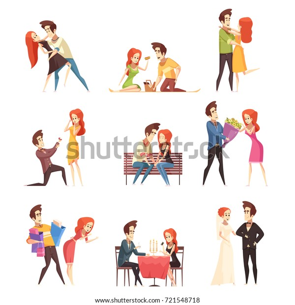 Couple in love flat decorative elements with young women and men dancing meeting outdoor in cafe and marriage ceremony isolated vector illustration