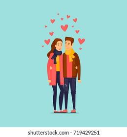 Couple in love. Flat design vector illustration.
