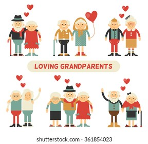 A couple in love grandparents. Happy together. Celebrate Valentine's Day. Set of isolated flat icons.