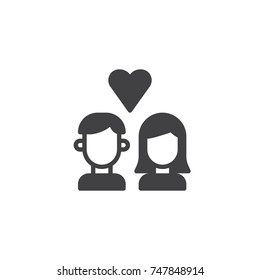 Couple in love with heart icon vector, filled flat sign, solid pictogram isolated on white. Love symbol, logo illustration.