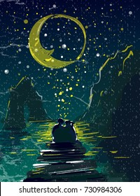 Couple in love holding each other under starry sky mountains and moon on sea side pier vector illustration