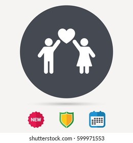 Couple love icon. Traditional young family symbol. Calendar, shield protection and new tag signs. Colored flat web icons. Vector