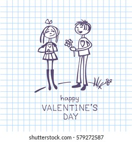 Couple in love isolated on checkered paper background. Valentine's Day vector illustration. Flat design. Design elements for greeting cards and etc.
