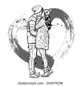 Couple in love. Kissing man and woman in winter clothes. Vector illustration for a card or poster.