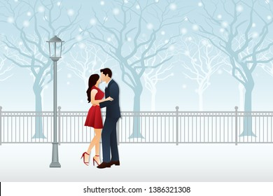 Couple love kissing with winter background graphic vector