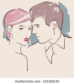 couple in love, man and woman hugging vector illustration eps 10