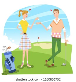 Couple in love on golf course, woman giving man golf ball (vector illustration)