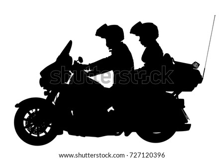 Couple Love On Motorcycle Vector Silhouette Stock Vector ...