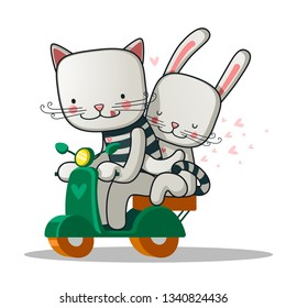 Couple in love on scooter.