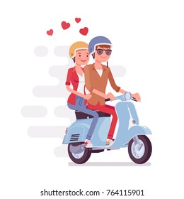 Couple in love on scooter. Young happy pair, man and woman riding a motorbike, enjoying time together, fast and easy city transportation on modern moped. Vector flat style cartoon illustration