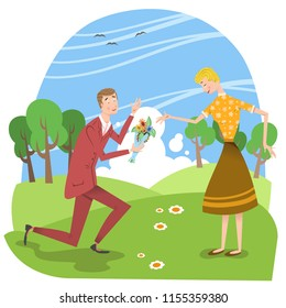 Couple in love on summer meadow, man giving flower bouquet to girlfriend (vector illustration)
