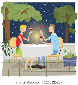 Couple in love at outdoor candlelight dinner with red wine under star (vector illustration)