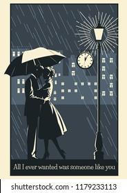 Couple in Love, Rain, Umbrella, Street Lantern