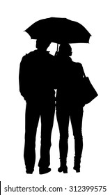 Couple in love in the rain vector silhouette illustration. Happy time for loving couple. Girlfriend and boyfriend closeness. Successful relationship. Thinking about together life. Waiting taxi or bus.