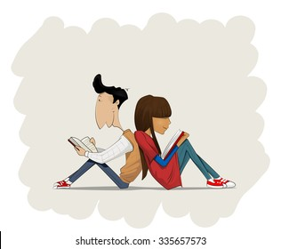 Couple in love reading books. Personal development, education, reading library concept.  Easy to edit. Vector