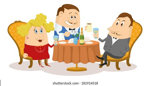 Couple in love in a restaurant. Respectable gentleman and fat lady in red raising a toast, while waiter offering menu, funny cartoon illustration. Vector