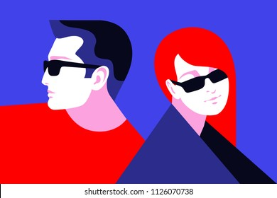 Couple in love. Romantic characters wearing sunglasses, beautiful sad girl and young man. Vector illustration