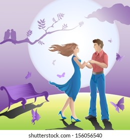 couple in love in a romantic scene with full moon and butterflies