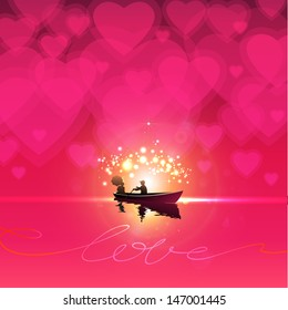 Couple in love in rowing boat on water. Beautiful red, hot pink background with heart shapes in sky. Valentine Day. EPS 10 Vector illustration.