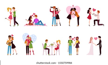 Couple in love set. Loving situations happy romantic couples, young men women characters hug and kiss dating, cartoon vector girlfriend and boyfriend romance isolated set