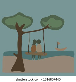 couple in love sit together with  beautiful beach vector,eps10.