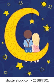 Couple in love sits on the moon