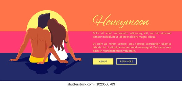 Couple in love sits on sandy beach and looks at blue deep ocean among tropical palms and sky with white clouds vector illustration web banner