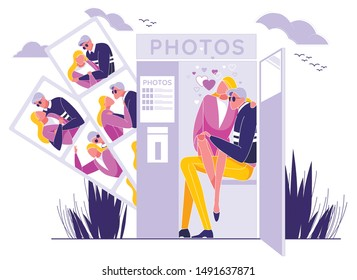 Couple in Love Sitting in Photo Booth Cabin and Taking Photos Flat Cartoon Vector Illustration. Man and Woman Having Romantic Shots, Different Portraits. Boyfriend and Girlfriend on Date.