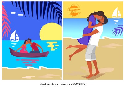 Couple in love swims on purple canoe and kisses at sunset in water vector illustration. Woman in dress and man in T-shirt and jeans at sunsrt