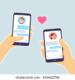 Couple in love texting. Male and female hand holding smartphones with text messages chat. Online dating app relationship.