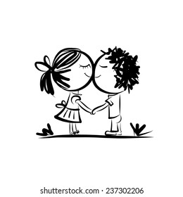 Couple in love together, valentine sketch for your design