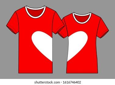 Couple Love Tshirt Design Vector Redwhite Stock Vector Royalty Free 1616746402