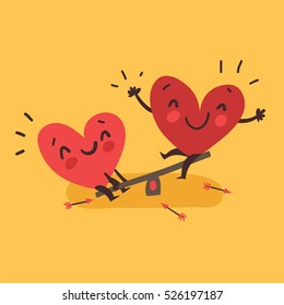 Couple in love. Two happy hearts swinging. Happy Valentine's day vector card