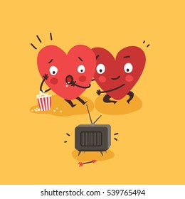 Couple in love. Two happy hearts watching TV together