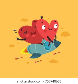 Couple in love. Two happy hearts flying on a rocket. Valentine's Day vector card. Romantic love story