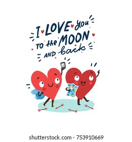 "Couple in love. Two happy hearts traveling together. Hand drawn lettering ""I love you to the moon and back"""