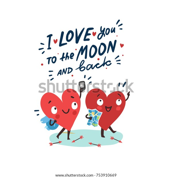 """Couple in love. Two happy hearts traveling together. Hand drawn lettering """"I love you to the moon and back"""""""