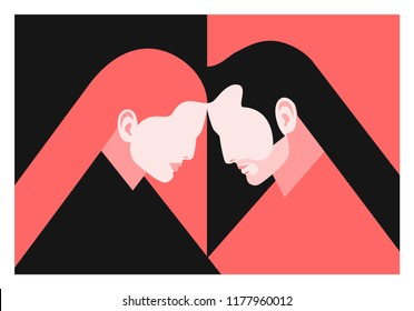 Couple in love. Two lovers, man and woman. Vector illustration